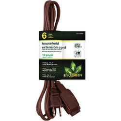 Go Green Household Extension Cord (6', Brown)