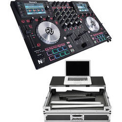 Numark NV Intelligent Dual-Display Controller for Serato DJ Kit with Hard Case and Sliding Shelf