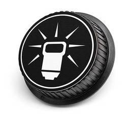 LenzBuddy Flash Icon Rear Lens Cap for Nikon Cameras (Black & White)