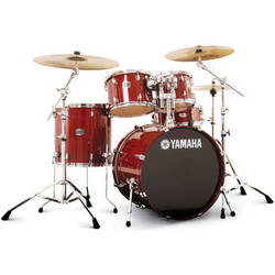 "Yamaha SBP2F5 Stage Custom Birch Acoustic 5-Piece Drum Set (22"" Bass Drum, Cranberry Red)"