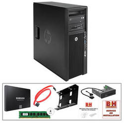 HP Z420 Series F1M14UT Turnkey Workstation with 32GB RAM, 500GB SSD, Media Card Reader, and HDD/SSD Bay Converter