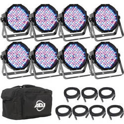 American DJ Mega Flat Pak 8 Plus - 8x Mega Par Profile Plus LED Pars, 7x DMX Cable, & Bag