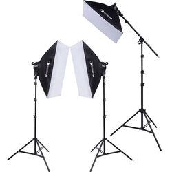 Interfit F5 Three-Head Fluorescent Lighting Kit with Boom Arm