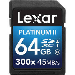 Lexar 64GB Platinum II UHS-I 300x SDXC Memory Card (Class 10)