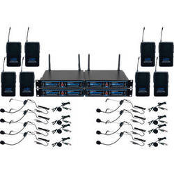 VocoPro UDH-PLAY 8 - Eight-Channel UHF/DSP Hybrid Bodypack Wireless Microphone Package