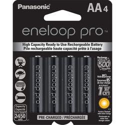 Panasonic eneloop pro AA Rechargeable Ni-MH Batteries (2450 mAh, Pack of 4)