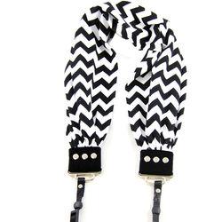 Capturing Couture Scarf Camera Strap (Black & White Chevron)