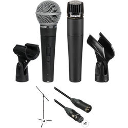 Shure SM58S & SM57-LC Mics, Stands, and Cables Kit