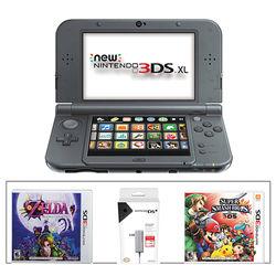 Nintendo 3DS XL Kit with Super Smash Bros. & AC Adapter (2015 Version, Black)