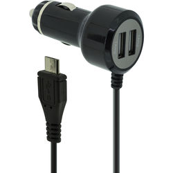 Case Logic Car Charger (2 x USB Ports, Integrated micro-USB Cable, Black)