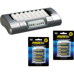 Powerex MH-C800S 8-Cell Smart Charger with 8 AA Batteries Kit