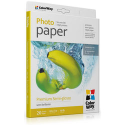 "ColorWay Premium Semi-Glossy Photo Paper (8.5 x 11"", 20 Sheets)"