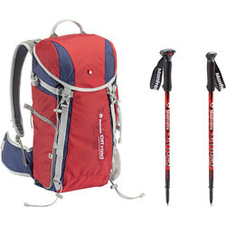 Manfrotto Off road Hiker 20L Backpack & Aluminum Walking Sticks Kit (Red)