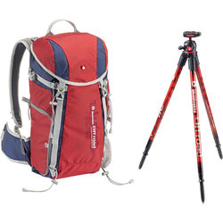 Manfrotto Off road Hiker 20L Backpack & Aluminum Tripod & Ball Head Kit (Red)