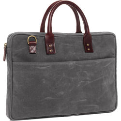 """ONA The Kingston 15"""" Laptop BriefcaseWaxed Cotton with Leather Accents(Smoke)"""