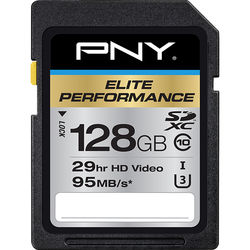 PNY Technologies 128GB Elite Performance UHS-1 SDXC Memory Card (U3, Class 10)