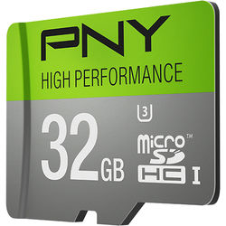 PNY Technologies 32GB High Performance UHS-I microSDHC Memory Card (U3, Class 10)