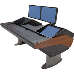 Argosy G22 Desk for Avid Artist (Euphonix) with Artist Mix 1, 6 RU, and Monitor Rack (Mahogany Finish, Gunmetal Gray Legs (Non-Expandable Configuration))