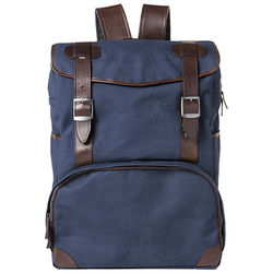 Barber Shop Mop Top Camera Backpack (Canvas & Leather, Blue & Dark Brown)