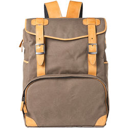 Barber Shop Mop Top Camera Backpack (Canvas & Leather, Sand)
