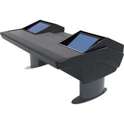 Argosy GV22 Universal Workstation Desk with Dual Monitor Racks (Black Finish, Gunmetal Gray Legs)