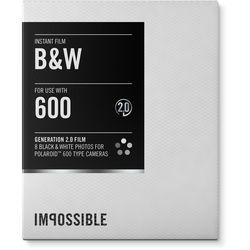 Impossible Black & White 2.0 Instant Film for Polaroid 600 Cameras (White Frame, 8 Exposures)