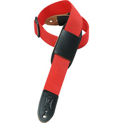 "Levy's 1.5"" Polypropylene Youth Guitar/Ukulele Strap with Movable Leather Pad (Up to 39"", Red)"