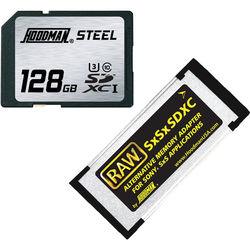 Hoodman 128GB SDXC Memory Card RAW STEEL Class 10 UHS-I and SxSxSDXC Adapter Kit