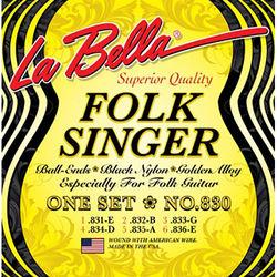 LABELLA Folksinger Black Nylon Golden Alloy Classical Guitar Strings