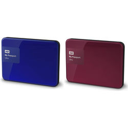 WD 2 x 1TB My Passport Ultra USB 3.0 Secure Portable Hard Drive Kit (Blue & Berry)