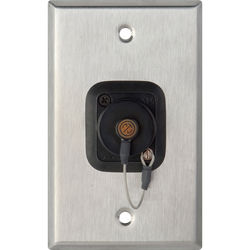 Camplex 1-Gang Stainless Steel Wall Plate with One OpticalCON Quad Fiber Optic Connector and Dust Cap
