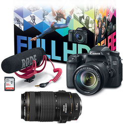 Canon EOS 70D DSLR Camera with 18-135mm Lens Video Creator Kit with 70-300mm Lens