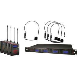 Nady 4W-1KU Quad UHF Wireless Receiver System with Four HM-1 Head-Worn Microphones