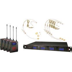 Nady 4W-1KU Quad UHF Wireless Receiver System with Four HM-10 Head-Worn Microphones (Beige)
