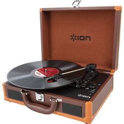ION Audio Vinyl Motion Portable Suitcase Turntable (Brown)