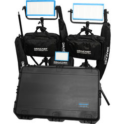 Dracast Bi-Color Wedding Kit with 1 x LED160AB and 2 x LED500B Pro Lights with Gold Mount Battery Plates