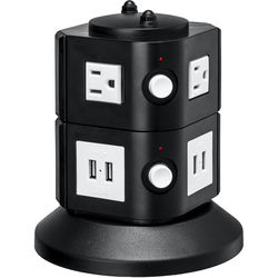 Yubi Power Power Tower with 4 Surge-Protected USA Outlets and 8 USB Ports (USA Plug)