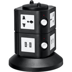 Yubi Power Power Tower with 4 Surge-Protected Universal Outlets and 8 USB Ports (USA Plug)