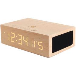 GOgroove BlueSYNC TYM Bluetooth Speaker with Integrated Alarm Clock (Light Wood)