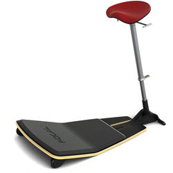 Focal Upright Furniture Locus Leaning Seat with Anti-Fatigue Mat (Black Seat Base, Chili Pepper Cushion)