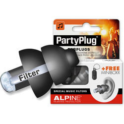 Alpine Hearing Protection PartyPlug Single-Attenuator Molded Earplugs (Black)