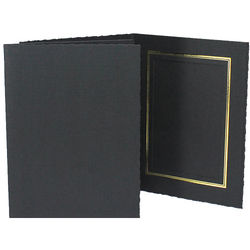 """Collector's Gallery Classic Black Folder with Gold Foil Window Border (Vertical 6 x 8"""" Print, 25-Pack)"""