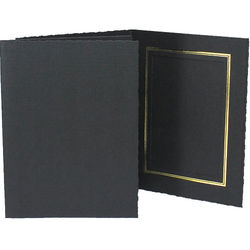 "Collector's Gallery Classic Black Folder with Gold Foil Window Border (Vertical 8 x 10"" Print, 25-Pack)"