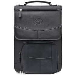 "MacCase Premium Leather Brief Case for Laptops up to 15"" (Black)"