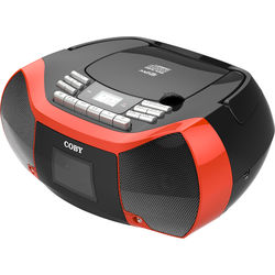 Coby MPCD-102 CD-R Cassette Radio Player and Recorder with MP3 and USB (Red)