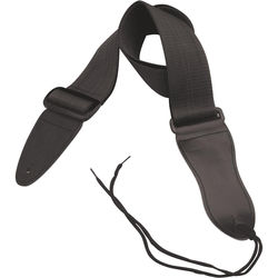 """On-Stage Guitar Strap with Leather Ends (31 to 52"""", Black)"""