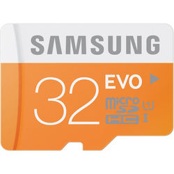 Samsung 32GB EVO UHS-I microSDHC U1 Memory Card (Class 10) with Adapter