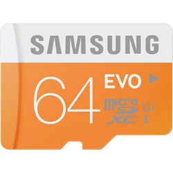 Samsung 64GB EVO UHS-I microSDXC U1 Memory Card (Class 10) with Adapter
