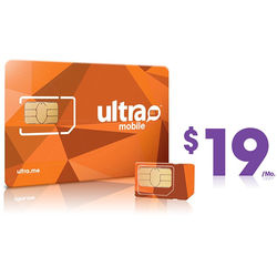 Ultra Mobile $19 International Plan with 3-Size SIM Card Pack