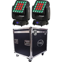 OMEZ Two TitanWash Matrix5 Moving Head LED Fixtures with Road Case